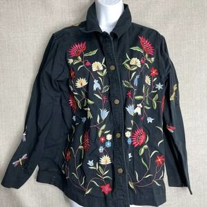 The Quacker Factory Floral Embroidered Jacket L